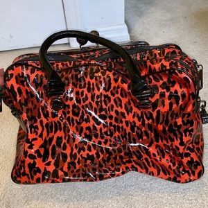 Betsey Johnson Bags - BETSEY JOHNSON RED CHEETAH OVERNIGHT BAG